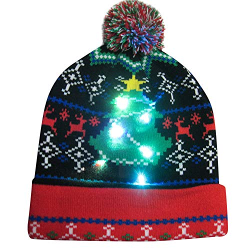 Fine Trendy Edge (✿ZTY66✿ Unisex Ugly LED Christmas Hat Novelty Colorful Light-up Stylish Knitted Sweater Xmas Party Beanie Cap (E))
