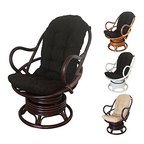Rattan Swivel Rocking Chair David with Cushion (Dark Brown - Black Cushion) (Dark Brown Wicker Chair)