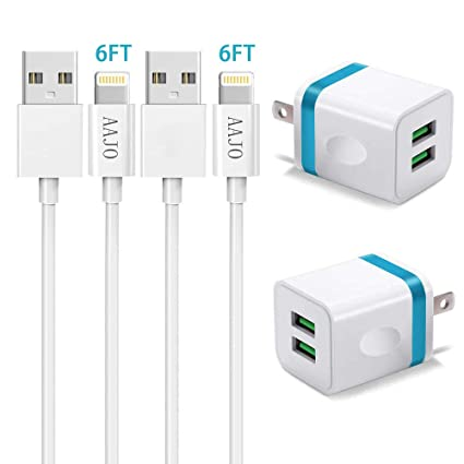 Amazon.com: Cargador de teléfono, cable USB, paquete de 2 ...