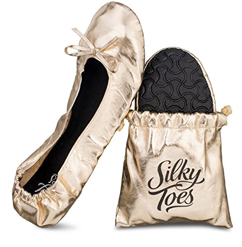 Silky Toes Women's Foldable Portable Travel Ballet Flat Roll Up Slipper Shoes with Matching Carrying Pouch (Extra Large, Gold)