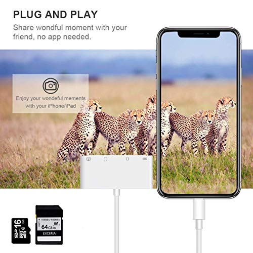 Weytech Lightning to USB Camera Adapter, 4 in 1 SD/TF Card Reader, Trail Game Camera Card Viewer Reader, Micro SD Card Reader USB 3.0 OTG Cable for iPhone X 8 7 6 Plus and iPad, Plug and Play by Weytech (Image #3)
