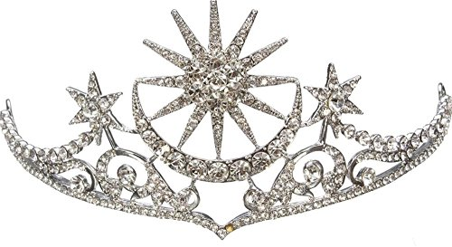 Luxury Bride Star Moon Queen Crystal Crown Tiara Wedding Bridal Party Prom Headbrand(#47) ()