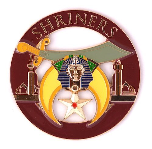 Shriner Round Burgundy Masonic Auto Emblem - 3' Diameter The Masonic Exchange EMB-REDSHRINER