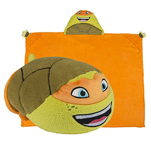 Teenage Mutant Ninja Turtles Hooded Blanket - Kids Cartoon TMNT Character Blankie that Folds into a Pillow - Great for Boys and Girls - by Comfy Critters (Teenage Mutant Ninja Turtles Halloween)