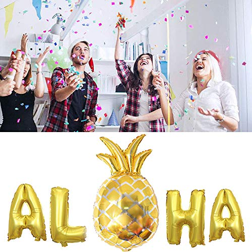 First Birthday 18' Foil Balloon - ALOHA Gold Foil Balloons - Hawaii Party Banner Foil Balloons Tropical Beach Party Decor Supplies,40cm/80cm