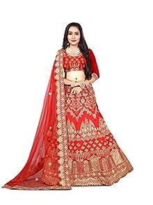 4084b4e9a85 Rozdeal Women's Taffeta Silk Lehenga Choli (Rdl129-Sn71,Red,Free Size)