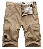 Vcansion Men's Cotton Relaxed Fit Summer Beach Casual Twill Multi Pocket Cargo Shorts Khaki US 40/Label 42