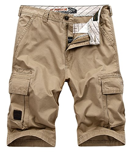 Vcansion Men's Cotton Summer Loose Fit Twill Multi Pocket Cargo Shorts Khaki US 42/Label 44