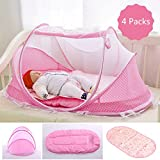 Baby Travel Bed, Portable Folding Baby Crib Mosquito Net Tent Foldable Baby Cots Newborn Foldable Crib for 12-24 Month (Pink Tent+Mat)