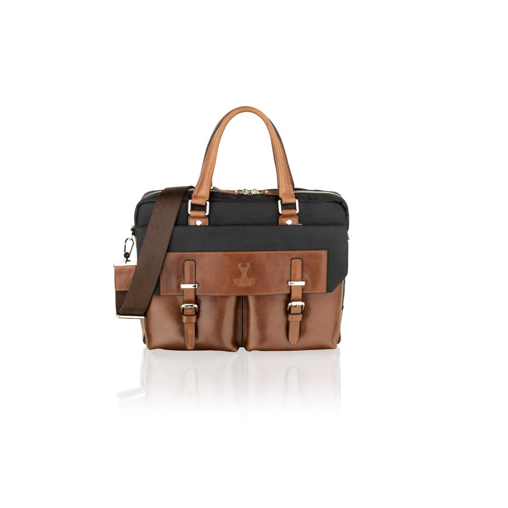 Woodland Leather Tan Tote Bag 14.0  Multi Compartments