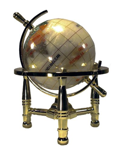 Unique Art 6-Inch Tall Pearl Swirl Ocean Mini Table Top Gemstone World Globe with Gold - Gold Ribbon Resin