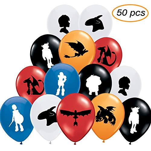 50pcs How To Train Yours Inspired Dragons Party Balloons, Cute Designed and Thickening Birthday Party Balloon Perfect for Kids Birthday Party Supplies Decorations