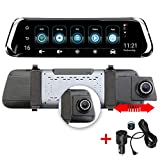 Car Dash Cam - 10' IPS Dual Dashboard Camera Recorder with Touch Screen 4G Rear View Mirror DVR,Front Rear View HD Camera Android Bluetooth ADAS GPS FHD 1080P WiFi
