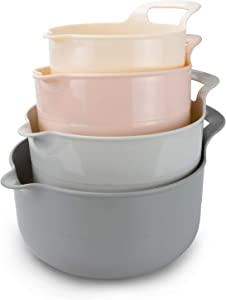 Cook with Color Mixing Bowls - 4 Piece Nesting Plastic Mixing Bowl Set with Pour Spouts and Handles (Ombre Pink)