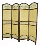 D-ART COLLECTION Rattan Tropical 4-Panel Screen Divider