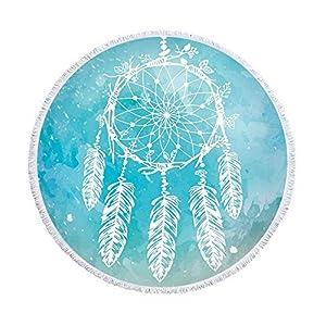XIAOBAOZISTJ Toalla De Playa Redonda Tapicería Atrapasueños Azul Estampado De Flecos Grueso Y Suave Manta para Picnic De… | DeHippies.com