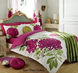 [hachette] 8PC KEW WHITE FUCHSIA TA DOUBLE SIZE BUMPER BEDDING BED DUVET COVER QUILT SET WITH PAIR OF CURTAINS, FITTED SHEET & PILLOWCASES by Hachette