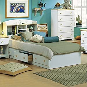 South Shore Newbury Kids Twin Bookcase Storage Bed Set In White Finish Bedroom