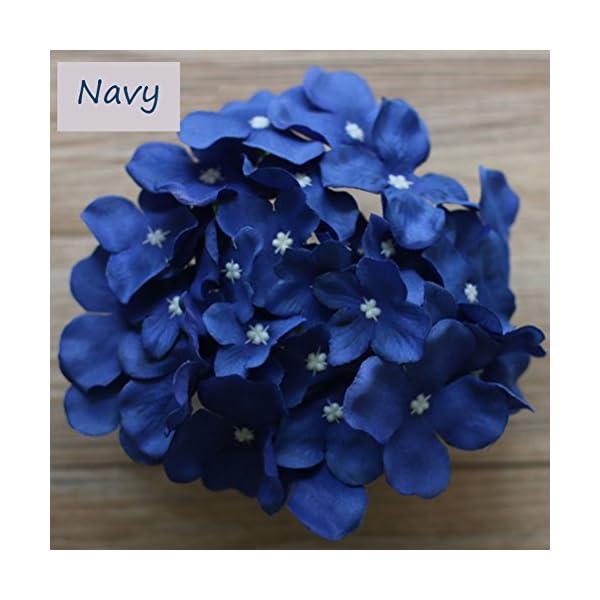 Lily Garden Silk Hydrangea Heads Artificial Flowers (60, Navy)