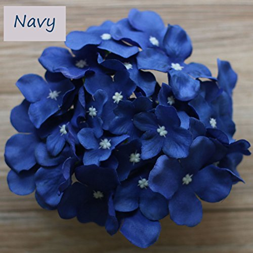 Lily Garden Silk Hydrangea Heads Artificial Flowers (12, Navy) ()