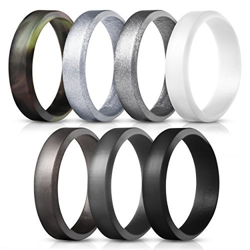 Saco Band Silicone Rings for Men - 7Pack & 4Pack Beveled Rubber Wedding Bands (Camo White Dark Gray Black Brown Gray Silver, 12.5-13 (22.2mm))