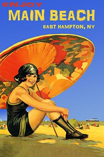 Girl Under Umbrella (ENJOY MAIN BEACH EAST HAMPTON NY GIRL UNDER UMBRELLA SUN BLUE SKY USA TOURISM 20