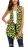 Urban CoCo Women's Sleeveless Draped Open Front Cardigan Vest Asymmetric Hem (M, 4)