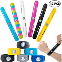 Slap Bracelets for Boys Kids Girls 12 PCs Pack - Sports Snap On Silicone Bracelet Wristbands Set With Boost Energy Hologram for Balance and Strength - Great As Party Favors, Piñata Fillers, Giveaways