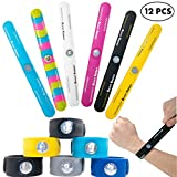 Slap Bracelets for Boys Kids Girls 12 PCs - Sports Snap On Silicone Bracelet Set With Boost Energy Hologram for Balance and Strength - Wristbands for Outdoors - Scouts Accessories - Party Favors