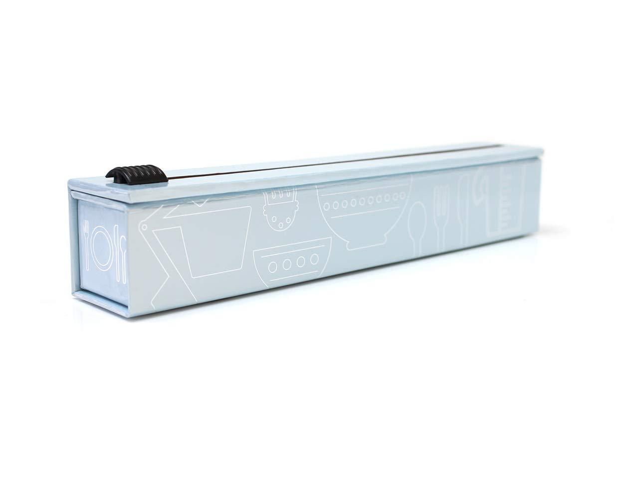 ChicWrap - Dispensador de papel de aluminio con cortador, papel de aluminio reutilizable, incluye 1 rollo de papel de cocina grueso de 300 mm x 9 m, ...
