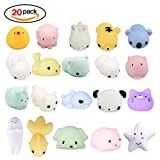 Toys : 20Pcs Squishy Toy, LEEHUR Party Favor Mini Cute Squeeze Funny Toy Soft Stress and Anxiety Relief Toys Kawaii Phone Case DIY Decoration Rabbit Duckling Cat Pig Tiger for Kids/Adults Random Color