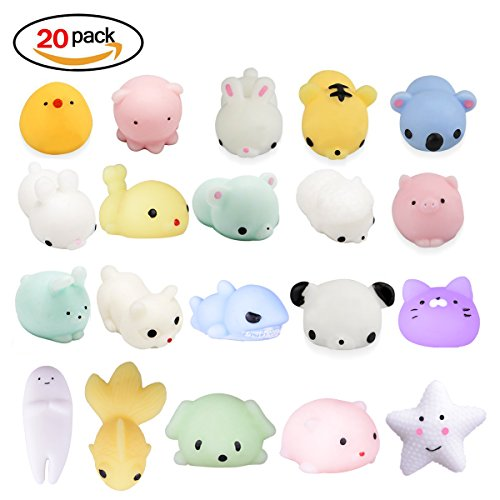 20Pcs Squishy Toy, LEEHUR Party Favor Mini Cute Squeeze Funny Toy Soft Stress and Anxiety Relief Toys Kawaii Phone Case DIY Decoration Rabbit Duckling Cat Pig Tiger for Kids/Adults Random Color (Random Ideas Party)