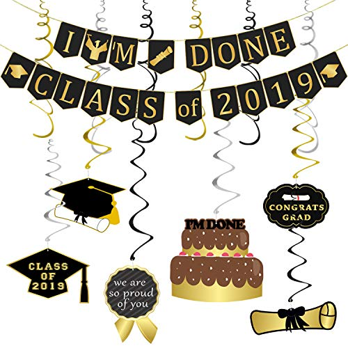 Graduation Hanging Decorations | Graduation Party Supplies 2019 | Graduation Decorations for College Grad, High School Prom Party Decor, I'm Done Class of 2019 Banner and Hanging Swirls Kit - Assembled, Large