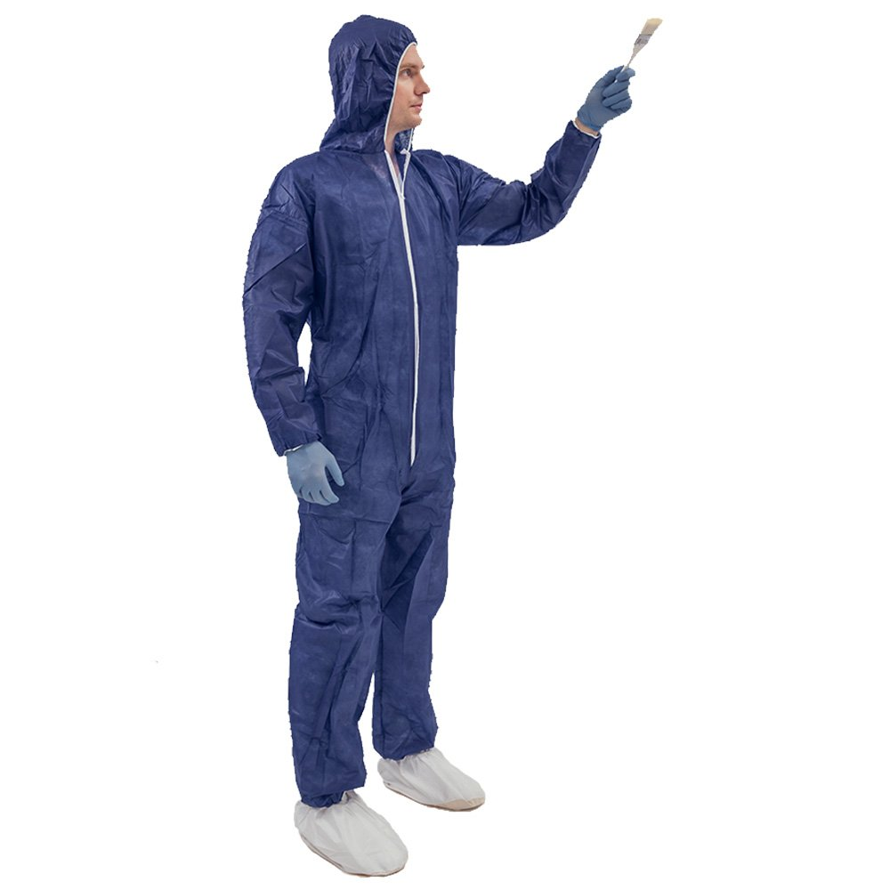 5 Pack Polypropylene PP Disposable Hooded Coveralls Light Duty Suit with Elastic Cuff Ankle and Waist (Large, Dark Blue) by Vicogard (Image #7)