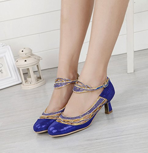 Meijili Womens Rhinestone Evening Wedding Pumps Salsa Tango Ballroom Latin Dance Shoes Blue
