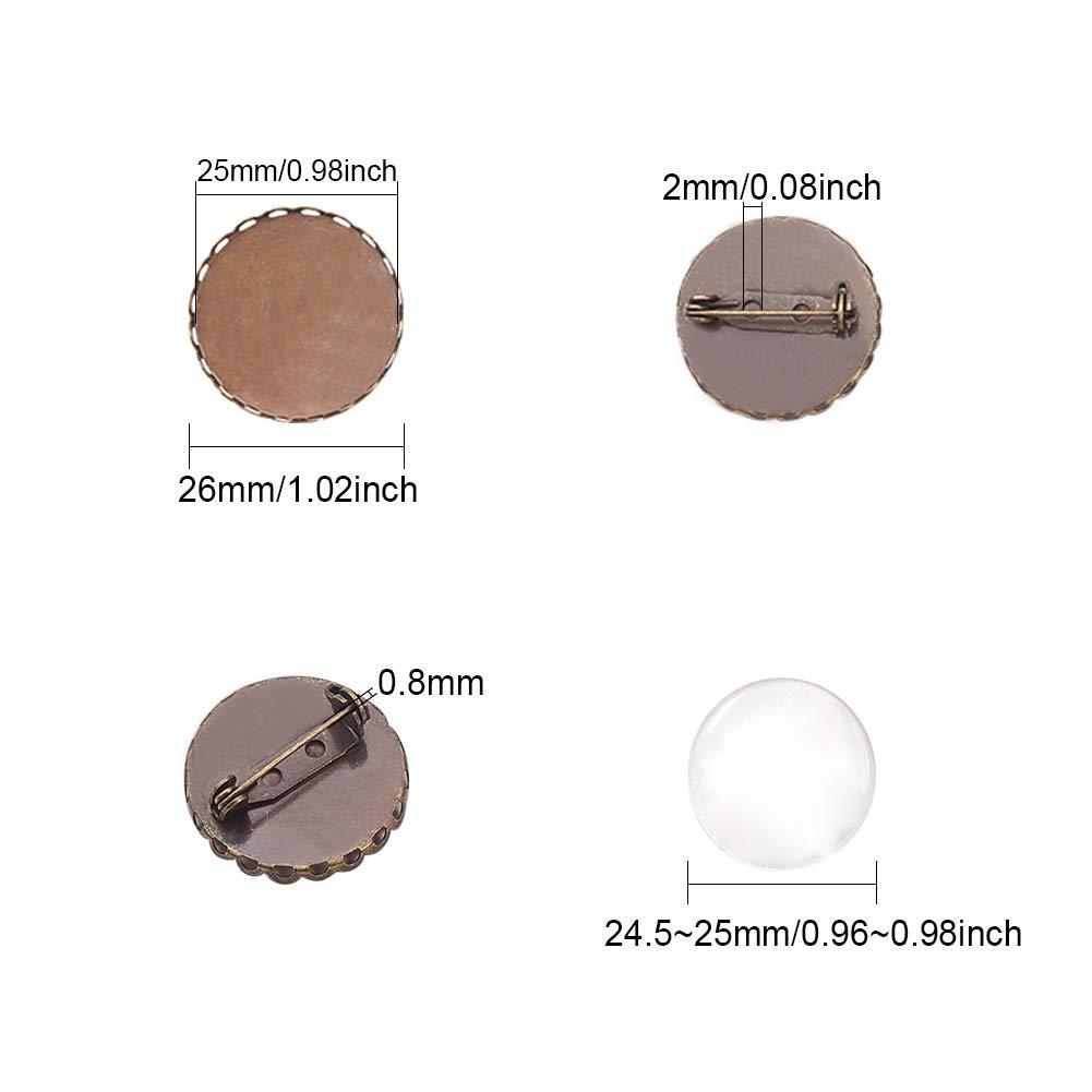 PandaHall Elite 10 Pezzi 2 Stile Ferro Rotondo Pin Backs Impostazioni di Base Spilla Accessori di Spilla di Ferro con vassoi in Ottone Bronzo Antico Argento