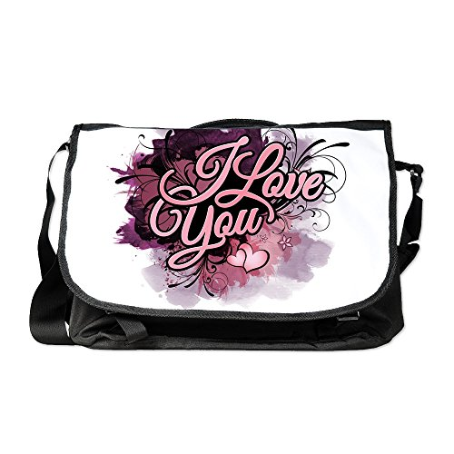 Truly Teague Laptop Notebook Messenger Bag I Love You Purple Floral Grunge by Truly Teague