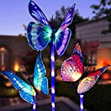 Garden Solar Lights Outdoor, 3 Pack Solar Stake Lights Multi-Color Changing LED Butterfly, Fiber Optic Butterfly Decorative Lights with a Purple LED Light Stake (Outdoor Solar Garden Stake Lights)