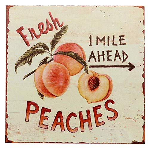 "SIGNT Outdoor Garden Fresh Peaches Fruit Tin Signs Vintage Bar Country Bar Gifts Retro Metal Sign Wall Decor for Home Garage Dorm Personalized Design 12"" x 12"" from SIGNT"
