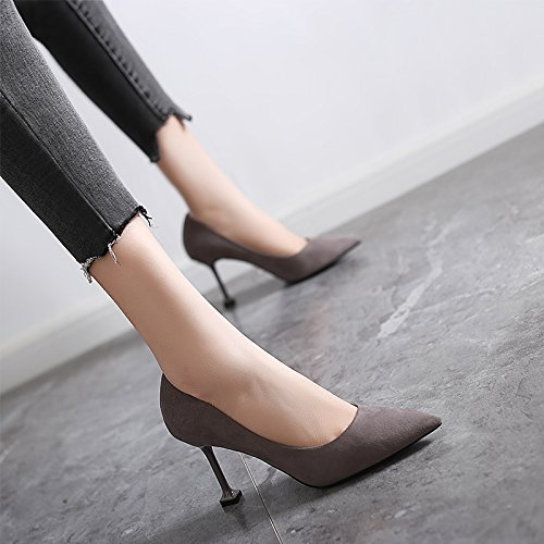 GTVERNH Frühjahr 8 cm High Heels Frauen Herbst und Winter Cat - Heels Dünnen Absätzen Pointcuts Witze Schuhe Schuhe.