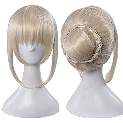 Price comparison product image netgo Light Blonde Cosplay Wigs for Saber with 1 Clip on Hair Bun Heat Resiatant Custome Wigs For Women