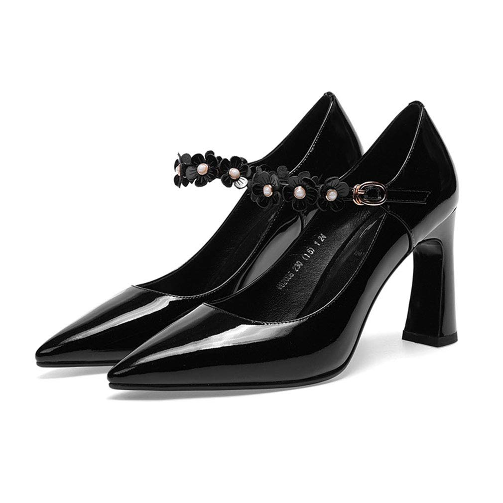 Gfphfm Damenschuhe 2019 neues Leder Pointed Thick Buckle Heel Ladies High Heels Spring Fall Beading Buckle Thick Shallow Mouth Single schuhe A 34 239f94