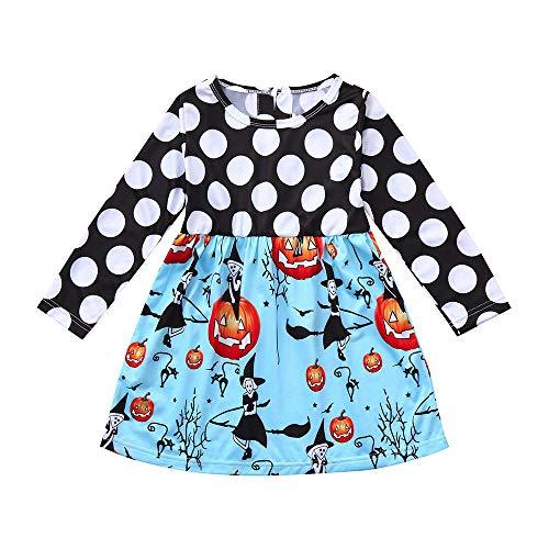 Dacawin Girls Dress,Toddler Kids Baby Girls Halloween Pumpkin Cartoon Princess Dress Outfits Clothes (5T, Blue Long Sleeve) ()