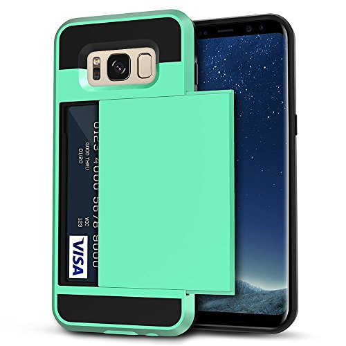 Galaxy S8 Plus Case, Anuck Slide Cover Galaxy S8 Plus Wallet Case [Card Pocket][Hard Shell] Shockproof Armor Rubber Bumper Case With Slidable Card Slot Holder for Samsung Galaxy S8 Plus - Mint Green