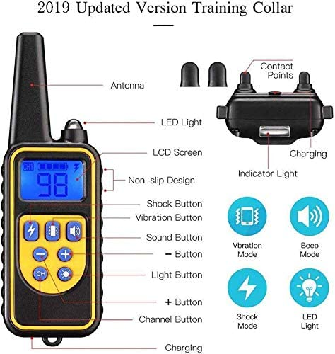 Kjdm-Dog Training Collar Barking Collar,Remote Control Beginner Dog Electric Training Clothes With Waterproof Rechargeable for Home Training Use-800M,Three