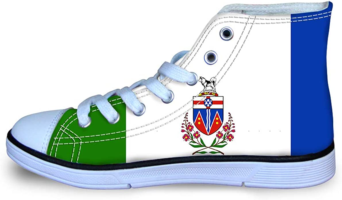 Canvas High Top Sneaker Casual Skate Shoe Boys Girls Chihuahua Dogs and Their Bone Nameplates