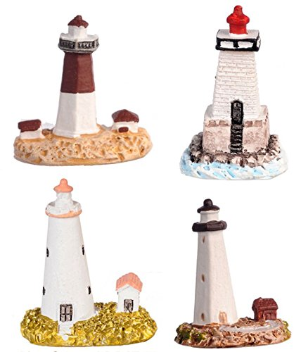 Miniature Lighthouse (Dollhouse Miniature Set of 4 Lighthouses in Resin)