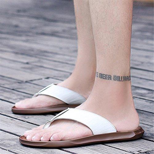 Pantofole Casual Da Uomo In Pelle Da Spiaggia Estiva In Pelle Bianca H1716