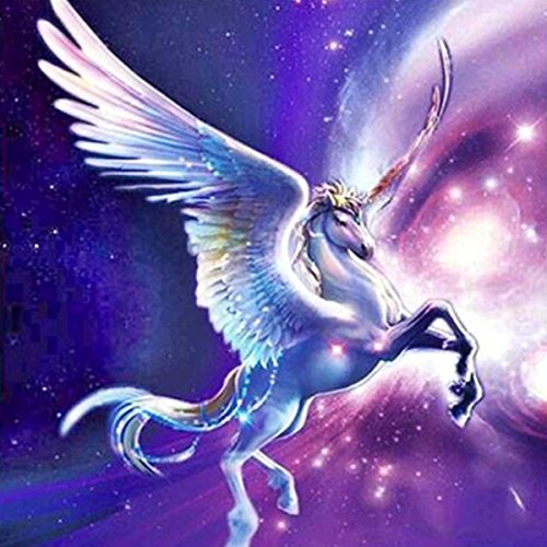 DIY 5D Diamond Painting by Number Kits, Crystal Rhinestone Diamond Embroidery Paintings Pictures Arts Craft for Home Wall Decor,Flying White Horse