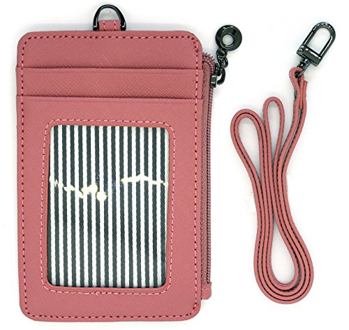 ID Card Holder Wallet With Landyard and Zipper Badge Case Genuine Leather for Women (Pink)